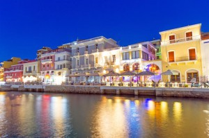 Agios Nikolaos city at night