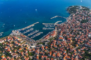 Marina with boats and sailboats, Adriatic tourist destination Vodice, Croatia